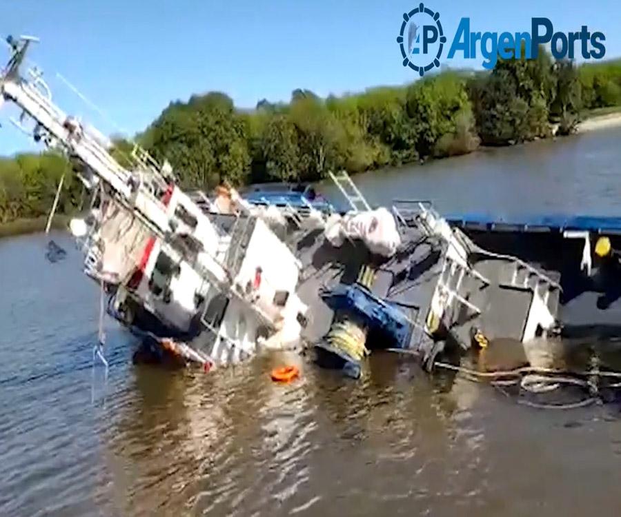 Video: se hundió un remolcador en el puerto de La Plata